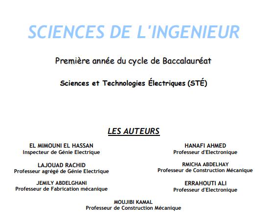 Manuel Première année du cycle de Baccalauréat Sciences et Technologies Électriques STÉ pdf