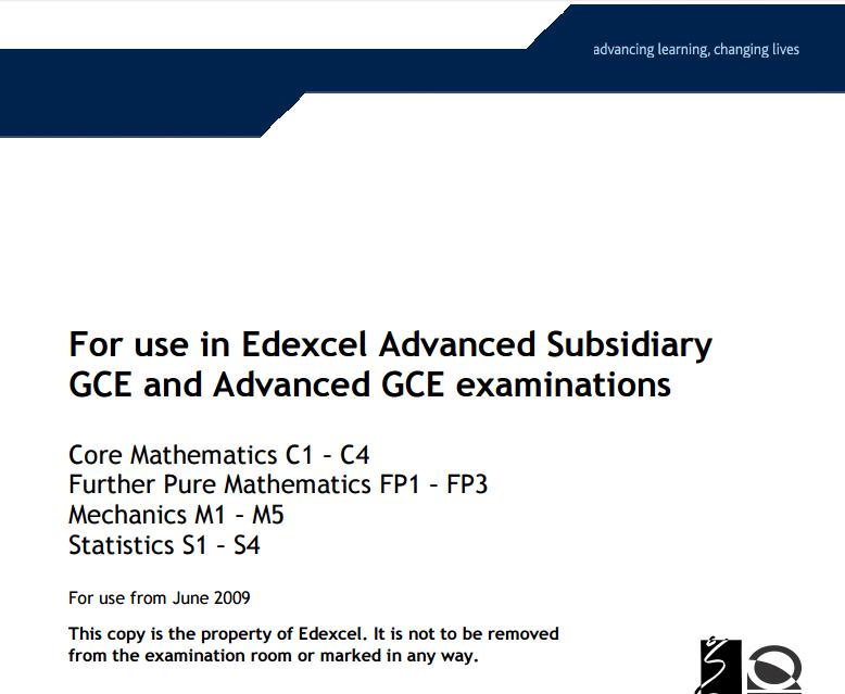 ESSENTIAL MATHEMATICS Formulae and Statistical Tables pdf