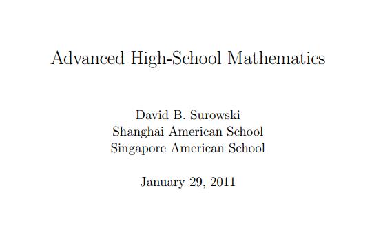 Advanced High-School Mathematics