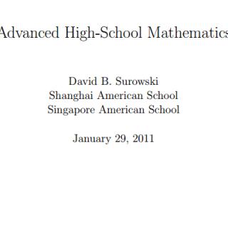 Book Advanced Hight School mathematics pdf