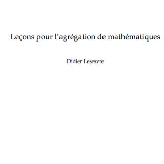 Leçons pour l'agrégation de mathématiques pdf