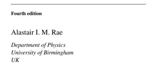 Book Quantum Mechanics by Alastair I. M. Rae pdf