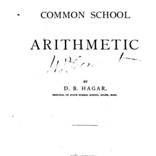 Book common school arithmetic by Hagar pdf