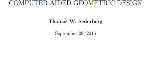 COMPUTER AIDED GEOMETRIC DESIGN pdf