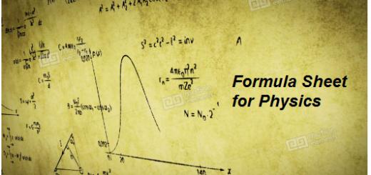 Formula Sheet for Physics pdf