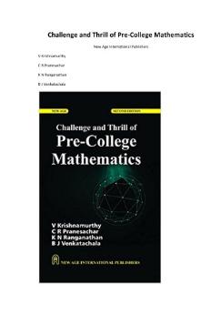 Book Challenge and Thrill of PreCollege Mathematics pdf