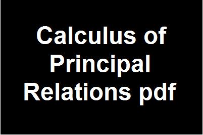 Calculus of Principal Relations pdf