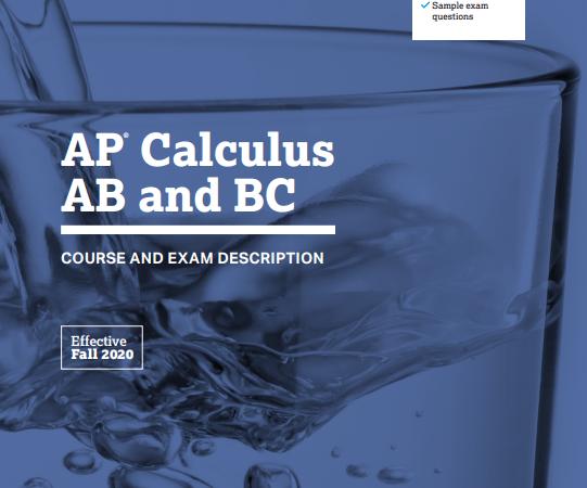 Book AP Calculus AB and BC COURSE AND EXAM DESCRIPTION pdf