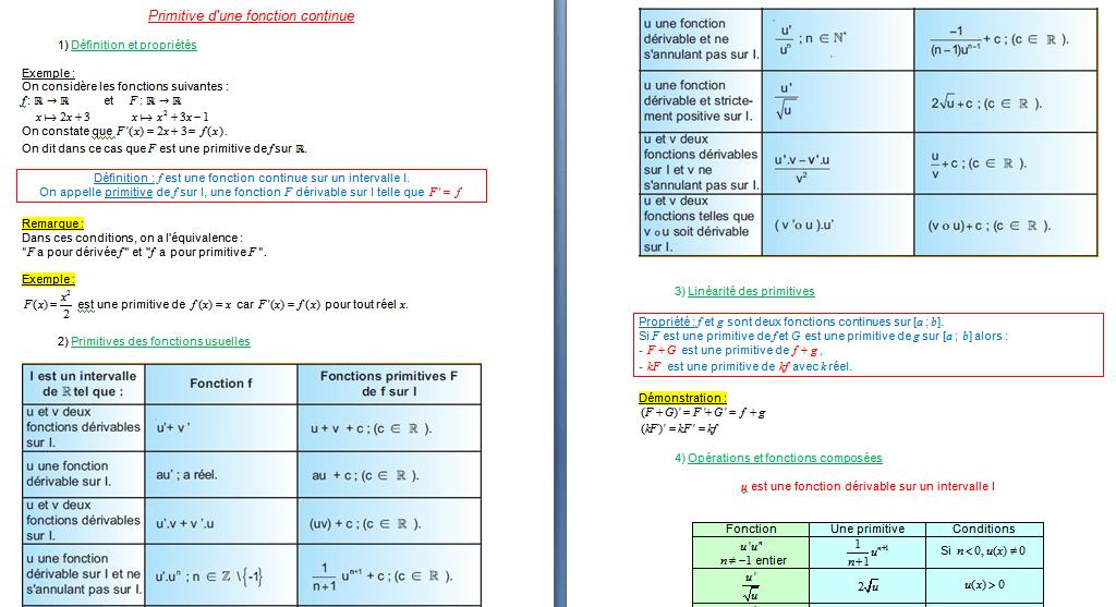 Primitive d'une fonction continue pdf