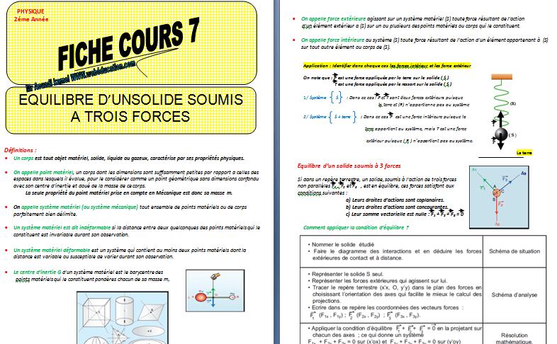 Cours équilibre d'un solide soumis à 3 forces pdf