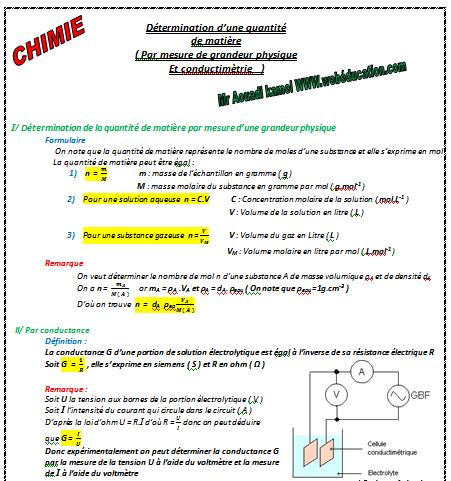 Cours ( 3éme Tec + BAC info ) : La conductance d'une solution électrolytique