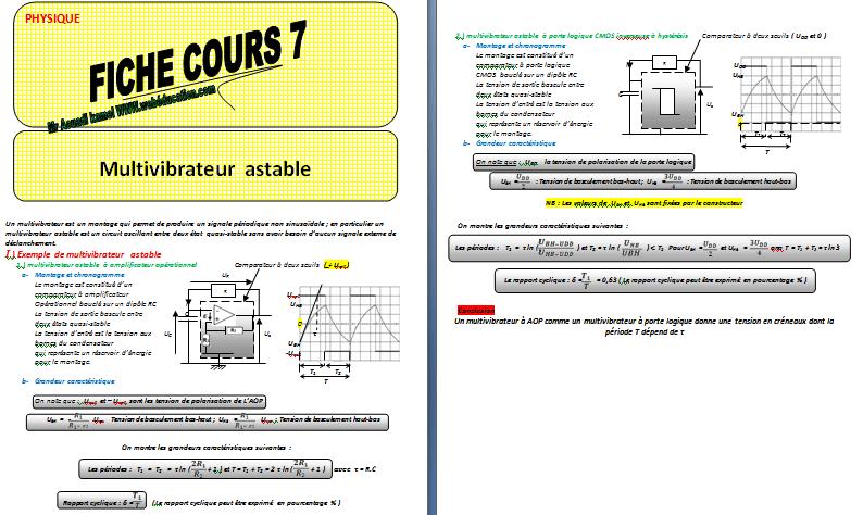 Cours : Multivibrateur astable