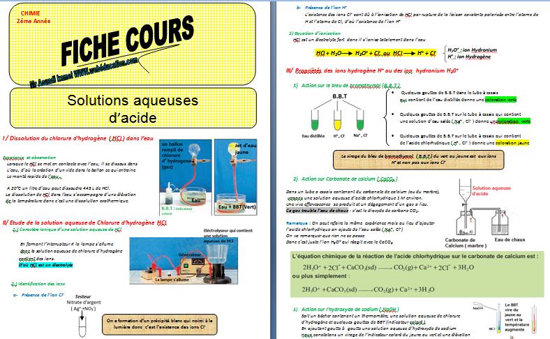 Cours 2éme année : Les solutions aqueuses d'acide
