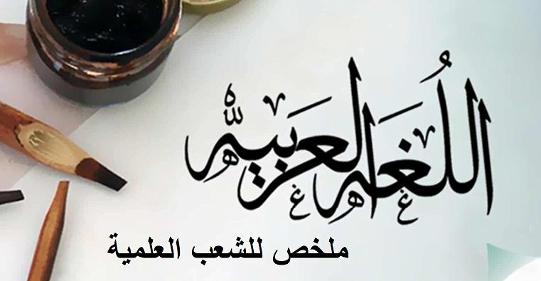 ملخص في مادة العربية للشعب العلمية