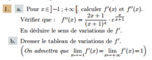 Exercices corrigés fonction exponentielle