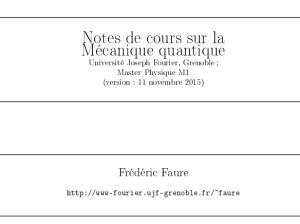 Notes de cours sur la Mécanique quantique pdf